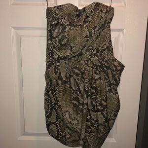 Michael Kors strapless animal print dress size 6
